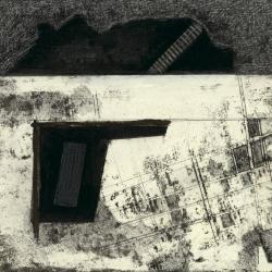 Photograph of a single frame from film, plan (drawing) and ground with descending stair (model).