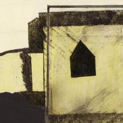 Photograph of a single frame from film, showing house (drawing) and glass window (model).