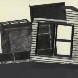 Photograph of a single frame from film, showing window (drawing) and plan section (model).