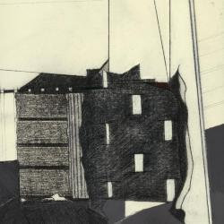 Photograph of a single frame from film, showing peeling wall (drawing) and wood wall (model) .
