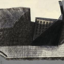 Photograph of a single frame from film, showing map (drawings) and walls (model).