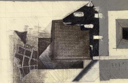 Photograph of a single frame from film, showing door, map, window ( drawing)  and metal screen wall ( model).
