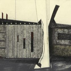 Photograph of a single frame from film, showing house (drawing) and wood wall (model).