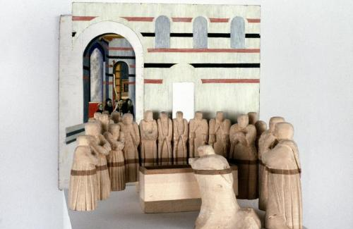 Model,  Basswood Carving  of the Community of Monks.