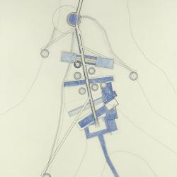 Ink on mylar with colored pencil:  path plan with exposed and hidden water.