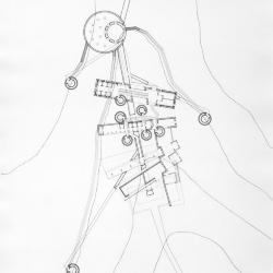 Ink on mylar: ground plan.
