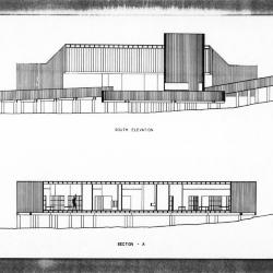 South elevation and section.