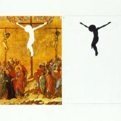 Cruxifiction, cut out, solid figure, and voided Christ, Duccio di Bouninsegna Maestà Atlarpiece, 1308-1311.