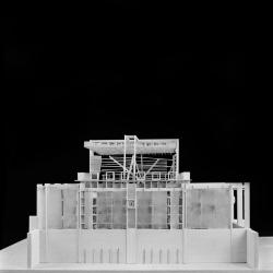 Model, Soundspace, Pavilion for the Urban Hermit, elevation view.