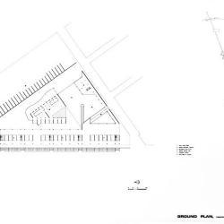 Plan, ground level. Prototypical triangular block.