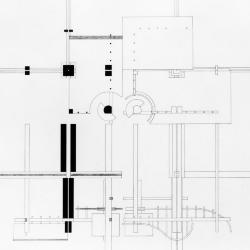 Plan, elevations and a section.