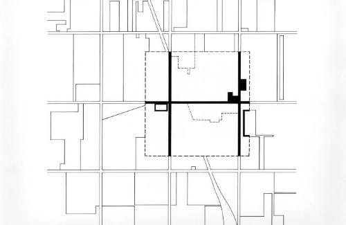 Plan, house in landscape.