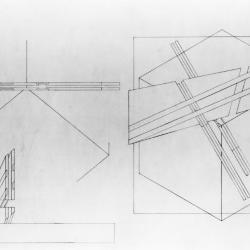 Plan of cube, intervention, and section where body intersects intervention.