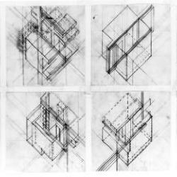 Axonometric studies of individual housing units.