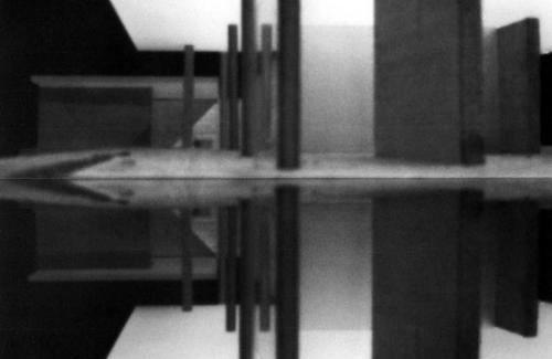 Pinhole camera photograph, Barcelona Pavilion.