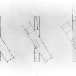 From left to right: Upper floor plan, lower floor plan and overhead view.