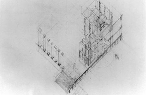 Axonometric showing cross section and cubic volumes of structural formation.