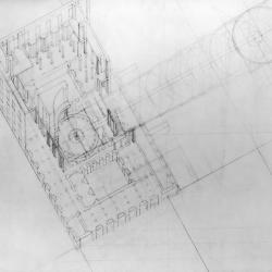 Axonometric showing interior volume and potential rotunda proportions to create site/museum relationship.