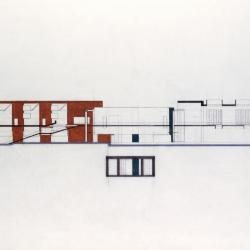 Vertical section cut through housing axis.
