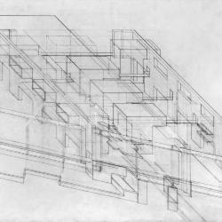 Axonometric, intersection of farming and housing.