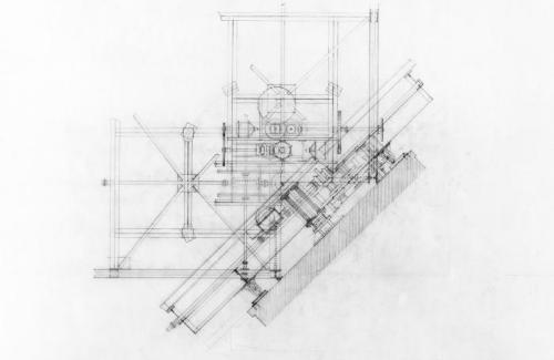 Mechanical superstructure, rotating bridge.