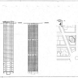 Site plan, elevation, and section.