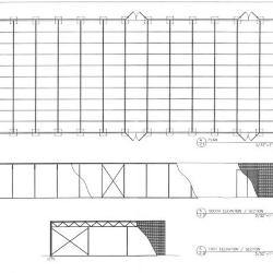 Plan, elevations and sections.