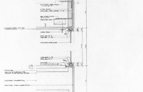 Farnsworth House, section detail.