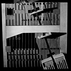 Model, plan showing  linear projection of walls and entrances to market and housing levels.