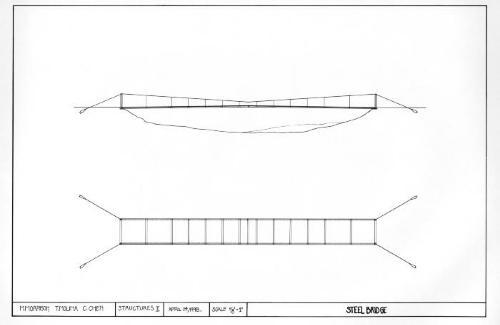 Steel bridge, plan and section.