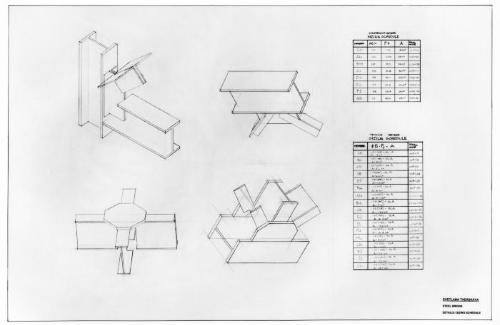 Steel bridge, details and sizing schedule.