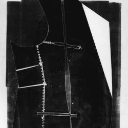 The Traveler's Discarded Garment, section. Monoprint from discarded lithographic tins stitched with wire.