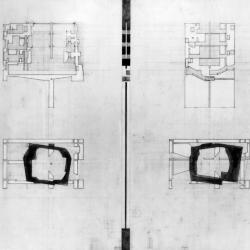 Left: Plan of second level museum space and longitudinal section of center wall. Right: Plan of first level museum space and cross section of center wall.