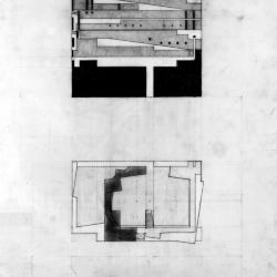 Plan, entrance level, museum space and longitudinal section north wall.