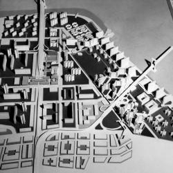 """View of Project """"B"""" a variant plan by Cooper Union architecture students for reconstruction of Manhattan's Lower East Side."""