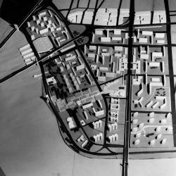 """View of """"Project A,"""" conceived of by Cooper Union architecture students for replanning and reconstruction of Manhattan's  Lower East Side neighborhood east of The Bowery between the Brooklyn Bridge and East Houston Street."""