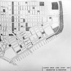 Map of the Lower East Side as it now exists. The area shown is roughly the same as that covered by rehabilitation projects planned by Cooper Union architecture students.