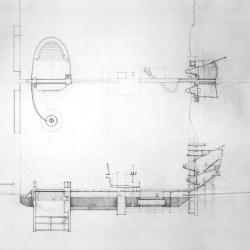 Cinema: plans and sections.