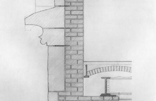 Cast-iron, masonry and steel detail.