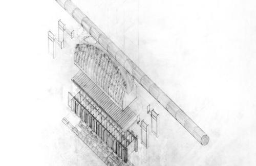 Study of the cable saddle for a suspension bridge. Detail of the main cable traveling through the top of the tower.