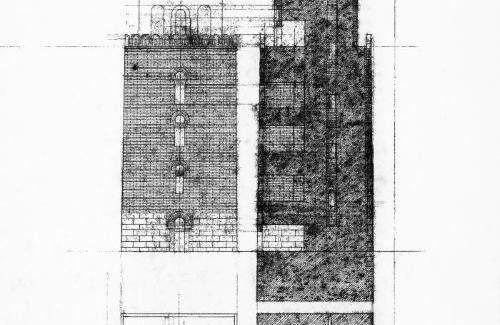 Plans, elevation and section.