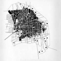 Plan showing superimposition of old city and new.