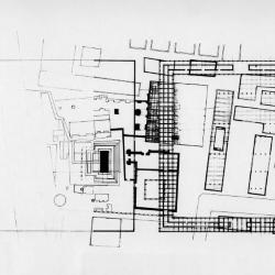 Plan, site of  Tlatelolco, pyramid, cathedral, modern apartment building and plaza.