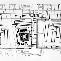 Plan, site of  Tlatelolco, pyramid, cathedral, modern apartment building.