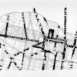 Plan, site of  Tlatelolco, aztec layout with contemporary layout.