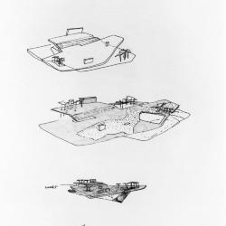 Sketch, study of urban square.