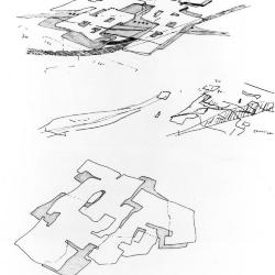 Sketch, interlayering of circulation and program, residential area.