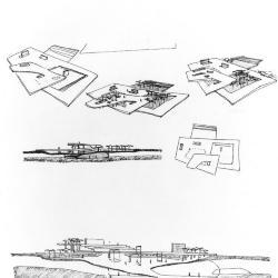 Urban square study and subway circulation.