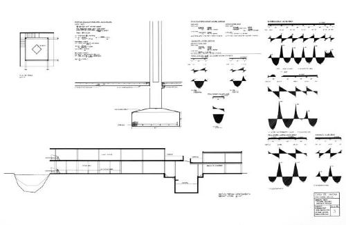 Entertainment house section, plan of tower, footings, shear/ moment drawings.