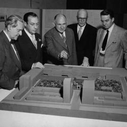 Mayor Robert F. Wagner inspects proposed redesign of  the Washington Square area.